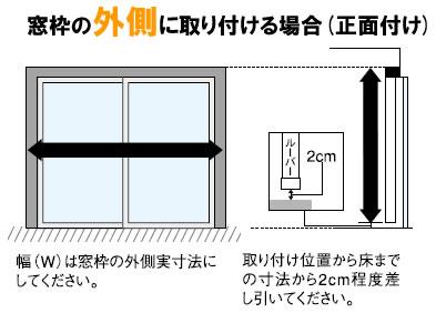 窓枠の外側に取付ける場合